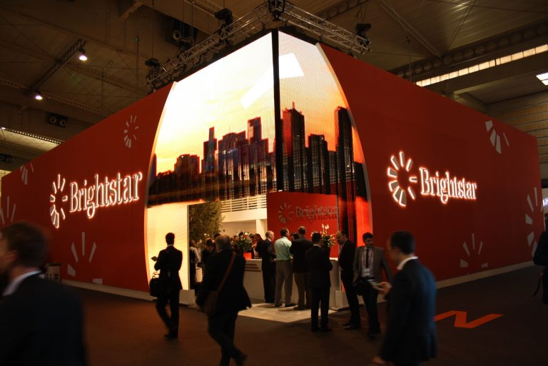 textile printed wallwrap booth in Fira for MWC